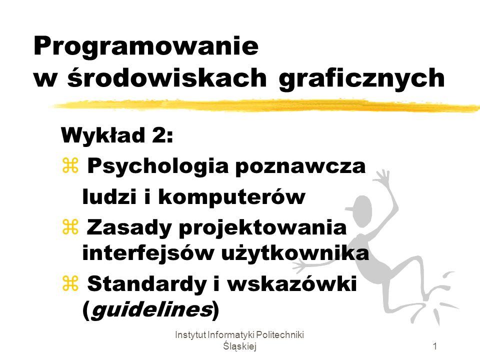 Instytut Informatyki Politechniki Śląskiej1 Programowanie w środowiskach graficznych Wykład 2: z Psychologia poznawcza ludzi i komputerów z Zasady pro