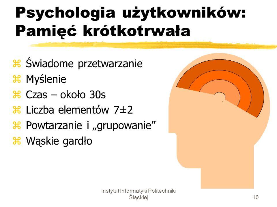 Instytut Informatyki Politechniki Śląskiej10 Psychologia użytkowników: Pamięć krótkotrwała z Świadome przetwarzanie z Myślenie z Czas – około 30s z Li