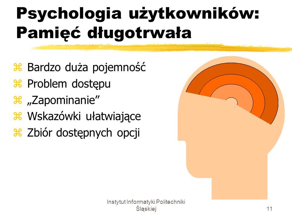 Instytut Informatyki Politechniki Śląskiej11 Psychologia użytkowników: Pamięć długotrwała z Bardzo duża pojemność z Problem dostępu z Zapominanie z Ws