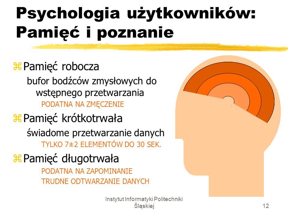 Instytut Informatyki Politechniki Śląskiej12 Psychologia użytkowników: Pamięć i poznanie zPamięć robocza bufor bodźców zmysłowych do wstępnego przetwa