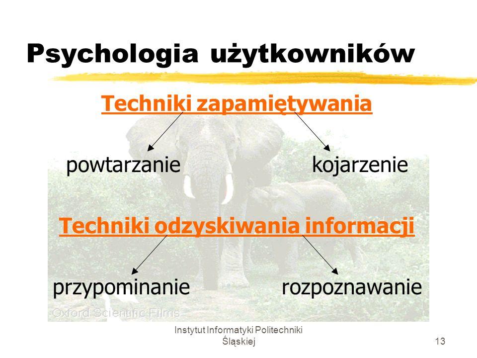 Instytut Informatyki Politechniki Śląskiej13 Psychologia użytkowników Techniki zapamiętywania powtarzanie kojarzenie Techniki odzyskiwania informacji