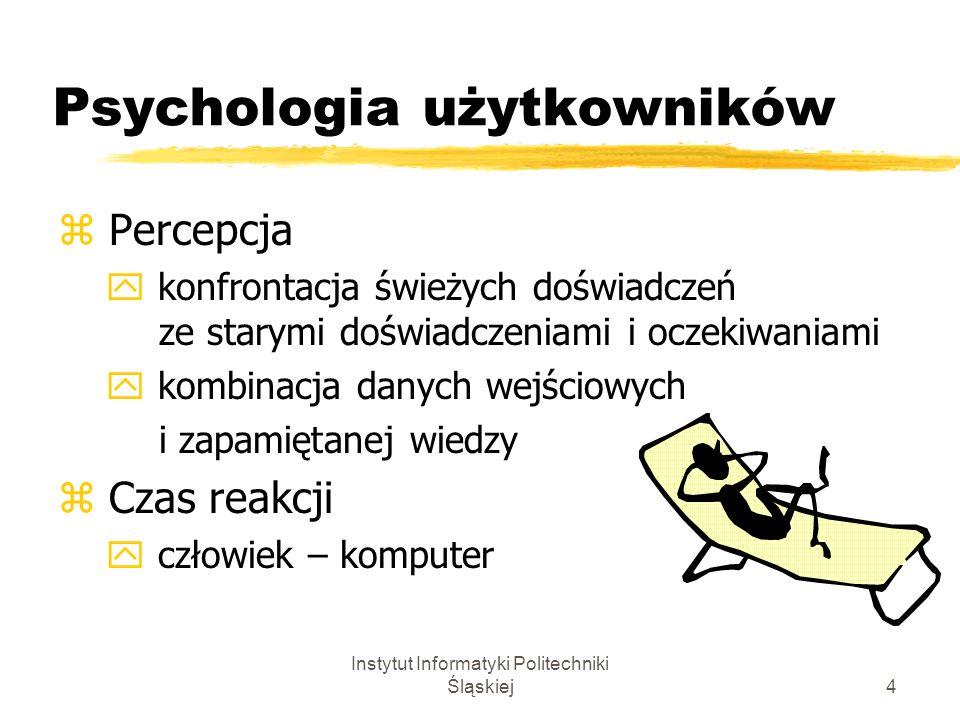 Instytut Informatyki Politechniki Śląskiej4 Psychologia użytkowników z Percepcja y konfrontacja świeżych doświadczeń ze starymi doświadczeniami i ocze
