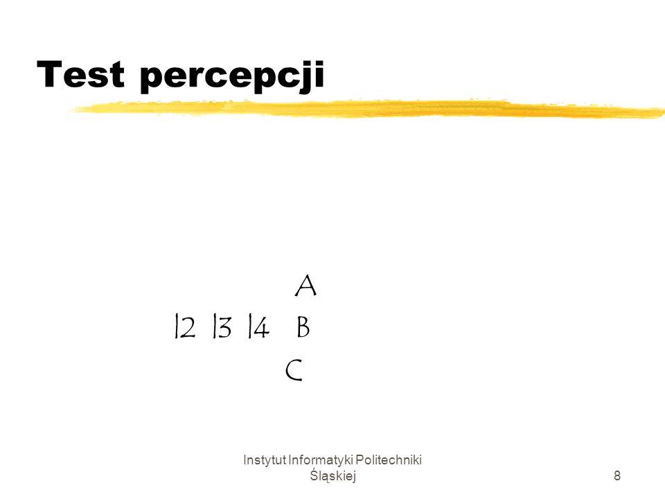 Instytut Informatyki Politechniki Śląskiej8 Test percepcji A |2 |3 |4 C B