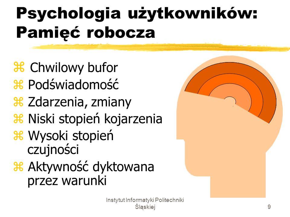 Instytut Informatyki Politechniki Śląskiej9 Psychologia użytkowników: Pamięć robocza z Chwilowy bufor z Podświadomość z Zdarzenia, zmiany z Niski stop