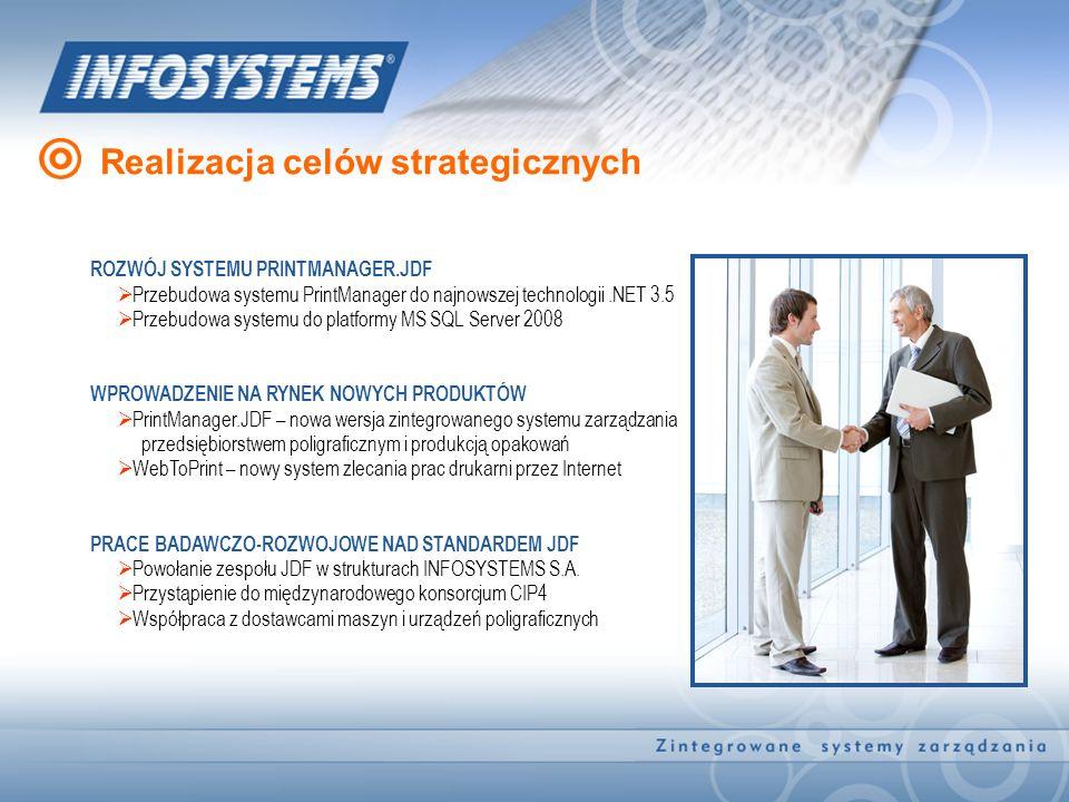Realizacja celów strategicznych ROZWÓJ SYSTEMU PRINTMANAGER.JDF Przebudowa systemu PrintManager do najnowszej technologii.NET 3.5 Przebudowa systemu d