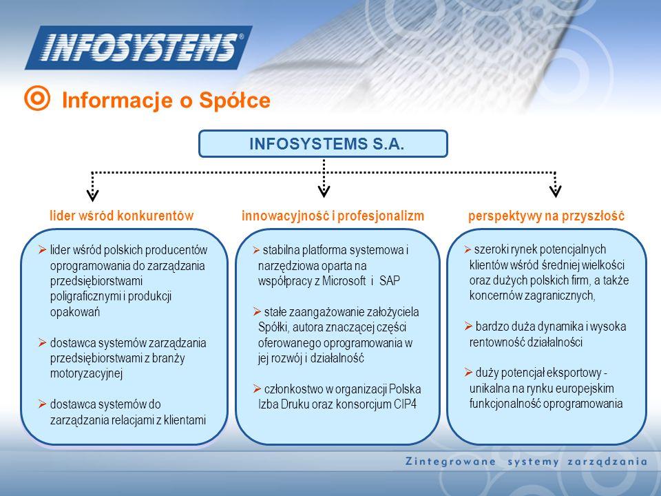 Informacje o Spółce lider wśród polskich producentów oprogramowania do zarządzania przedsiębiorstwami poligraficznymi i produkcji opakowań dostawca sy