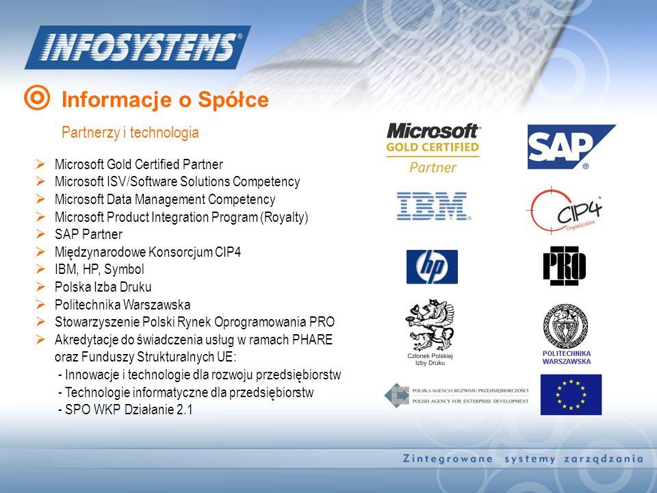 Informacje o Spółce Partnerzy i technologia Microsoft Gold Certified Partner Microsoft ISV/Software Solutions Competency Microsoft Data Management Com