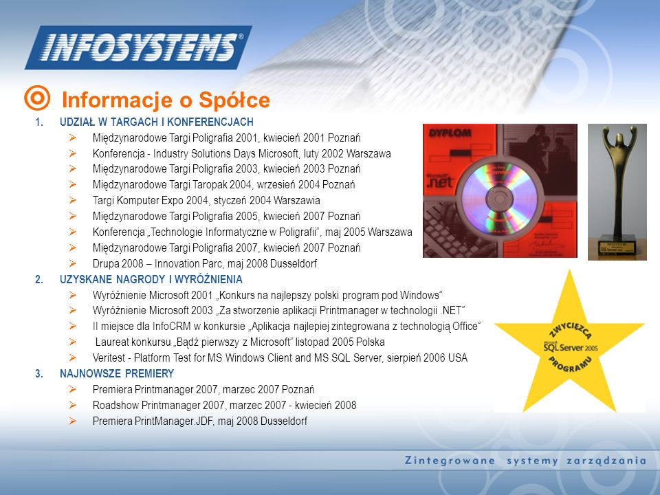 1.UDZIAŁ W TARGACH I KONFERENCJACH Międzynarodowe Targi Poligrafia 2001, kwiecień 2001 Poznań Konferencja - Industry Solutions Days Microsoft, luty 20