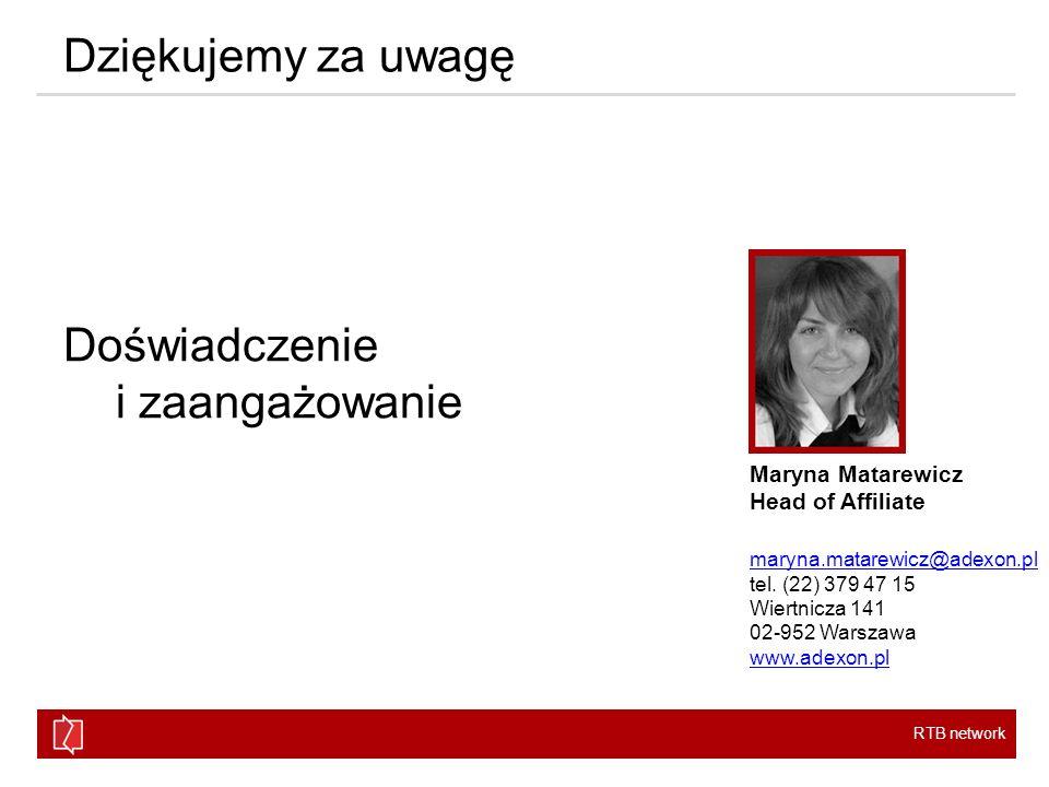 RTB network Dziękujemy za uwagę Doświadczenie i zaangażowanie Maryna Matarewicz Head of Affiliate maryna.matarewicz@adexon.pl tel. (22) 379 47 15 Wier