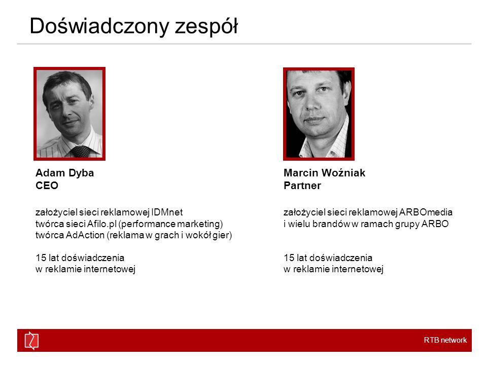 RTB network Doświadczony zespół Adam Dyba CEO założyciel sieci reklamowej IDMnet twórca sieci Afilo.pl (performance marketing) twórca AdAction (reklam