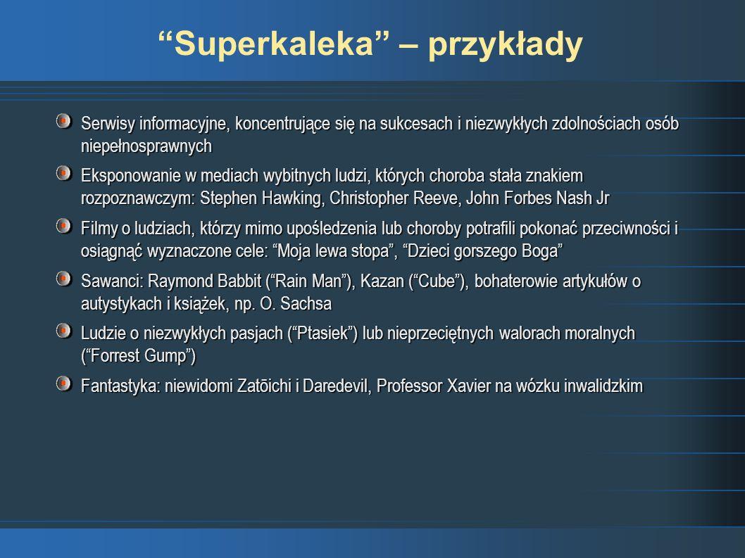 Superkaleka – przykłady Serwisy informacyjne, koncentrujące się na sukcesach i niezwykłych zdolnościach osób niepełnosprawnych Eksponowanie w mediach