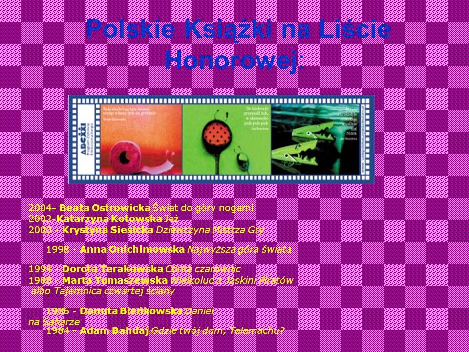 Polskie Książki na Liście Honorowej: 2004- Beata Ostrowicka Świat do góry nogami 2002-Katarzyna Kotowska Jeż 2000 - Krystyna Siesicka Dziewczyna Mistr