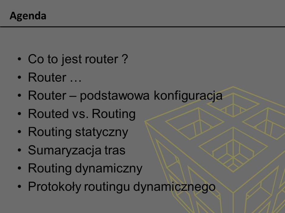 Routing dynamiczny - klasowy Routing klasowy (informacja o masce sieci nie jest wysyłana między routerami, klasa sieci rozstrzygana jest o przynależność danego IP do klasy) Nie wspiera techniki VLSM (Variable Lenght Subnet Mask) Brak wsparcia dla podzielonych sieci Przykład: RIP v1 i IGRP