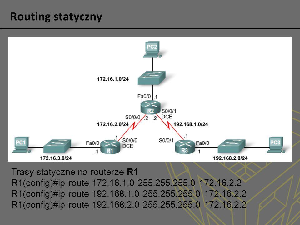 Trasy statyczne na routerze R1 R1(config)#ip route 172.16.1.0 255.255.255.0 172.16.2.2 R1(config)#ip route 192.168.1.0 255.255.255.0 172.16.2.2 R1(con