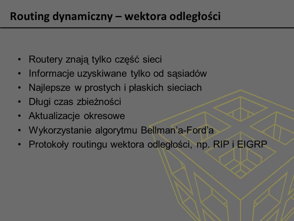Routing dynamiczny – wektora odległości Routery znają tylko część sieci Informacje uzyskiwane tylko od sąsiadów Najlepsze w prostych i płaskich siecia