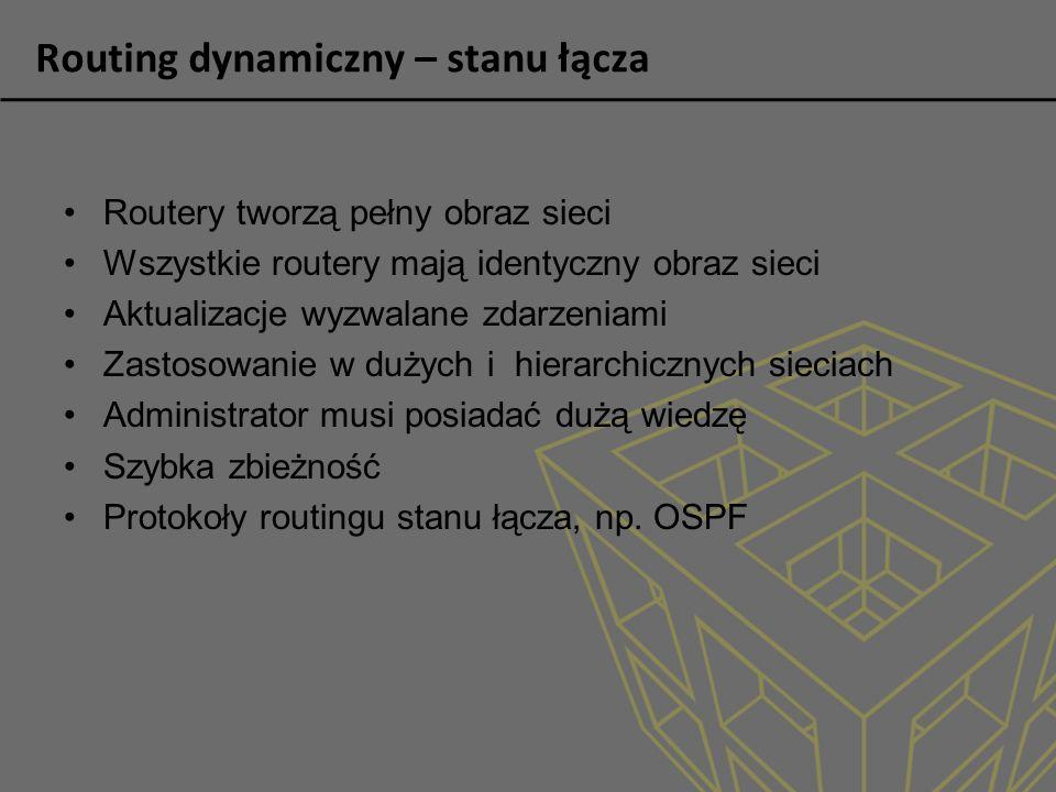 Routing dynamiczny – stanu łącza Routery tworzą pełny obraz sieci Wszystkie routery mają identyczny obraz sieci Aktualizacje wyzwalane zdarzeniami Zas