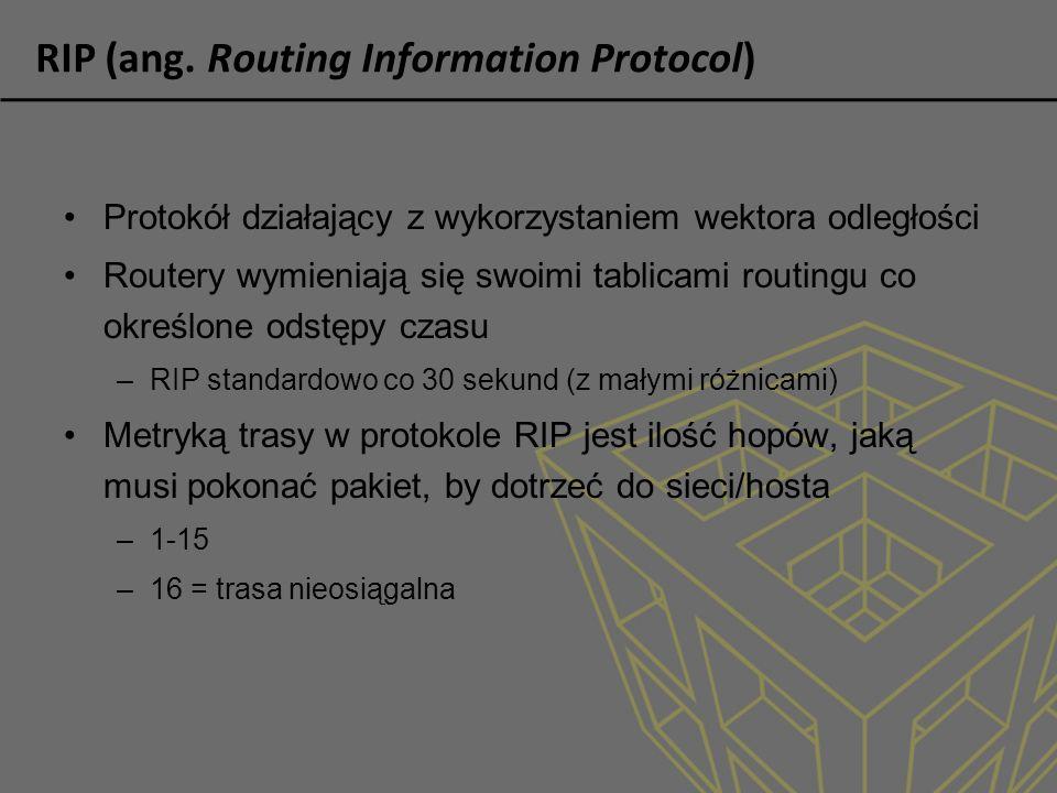 RIP (ang. Routing Information Protocol) Protokół działający z wykorzystaniem wektora odległości Routery wymieniają się swoimi tablicami routingu co ok