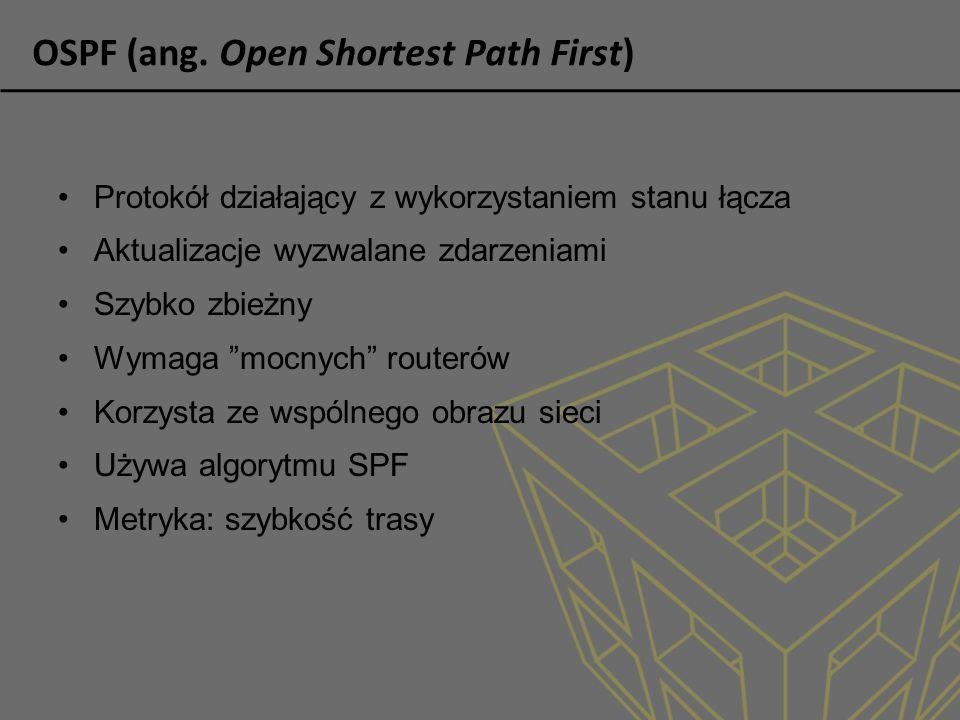 OSPF (ang. Open Shortest Path First) Protokół działający z wykorzystaniem stanu łącza Aktualizacje wyzwalane zdarzeniami Szybko zbieżny Wymaga mocnych