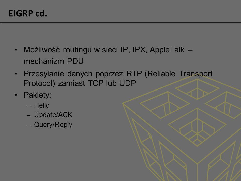 EIGRP cd. Możliwość routingu w sieci IP, IPX, AppleTalk – mechanizm PDU Przesyłanie danych poprzez RTP (Reliable Transport Protocol) zamiast TCP lub U