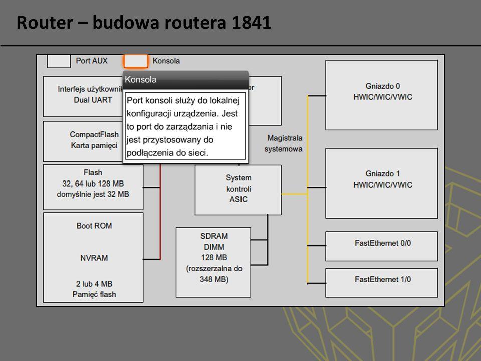 Routing statyczny Wykorzystywany w małych sieciach Prosta konfiguracja Łatwy do zrozumienia przez administratora Ręczna modyfikacja wpisów Nie wymaga silnych routerów Brak śmieci w sieci Router(config)#ip route network-address subnet-mask {ip-address | exit-interface } AD