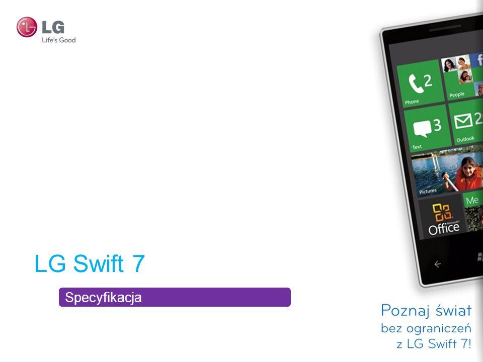 Produkt Dane techniczne telefonu WyświetlaczProcesorAparat fotograficznyCzas pracy akumulatora LG Swift 7 480 x 800 (przekątna 3,5 ) Snapdragon 1 GHz Wideo HD / 720p Aparat o rozdzielczości 5 megapikseli z automatycznym nastawianiem ostrości i funkcją panoramy Maks.