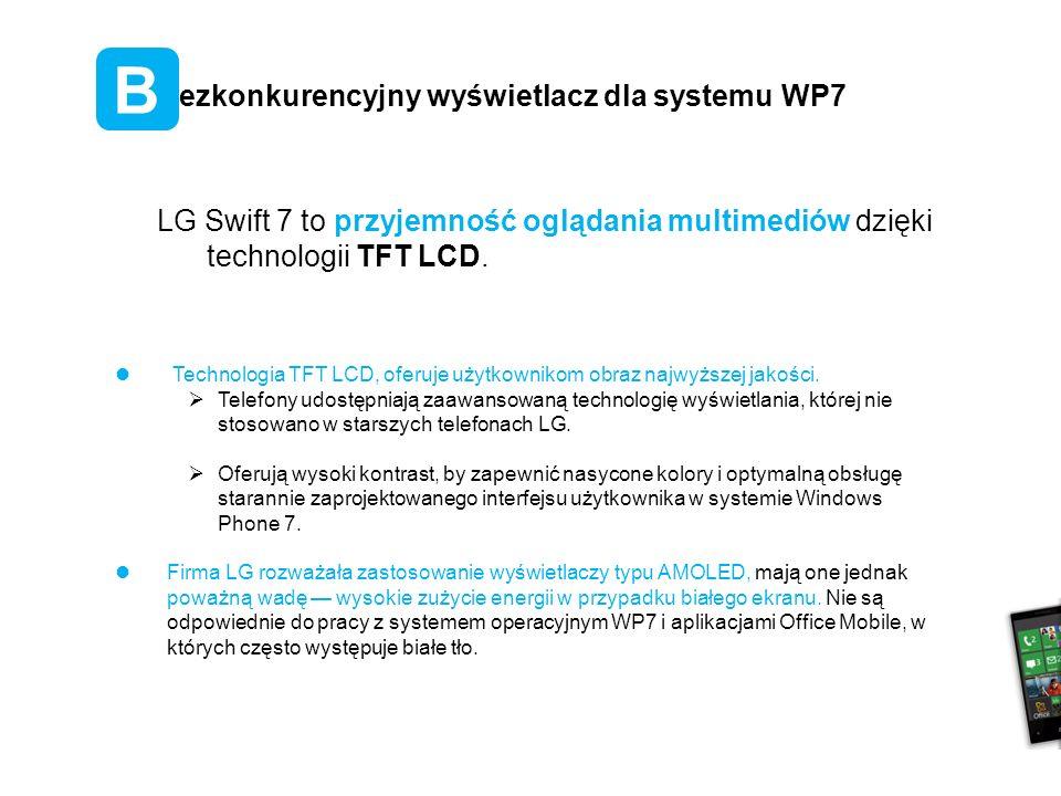 B ezkonkurencyjny wyświetlacz dla systemu WP7 Technologia TFT LCD, oferuje użytkownikom obraz najwyższej jakości.