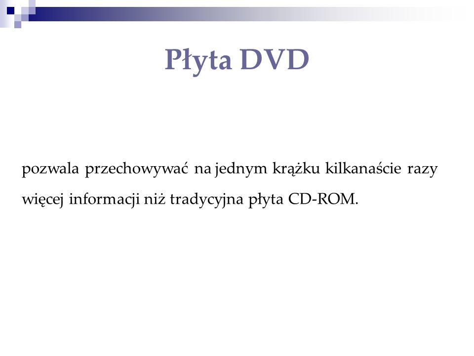 Płyta DVD pozwala przechowywać na jednym krążku kilkanaście razy więcej informacji niż tradycyjna płyta CD-ROM.