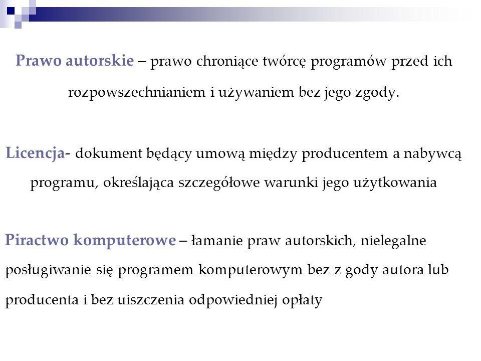 Prawo autorskie – prawo chroniące twórcę programów przed ich rozpowszechnianiem i używaniem bez jego zgody. Licencja- dokument będący umową między pro