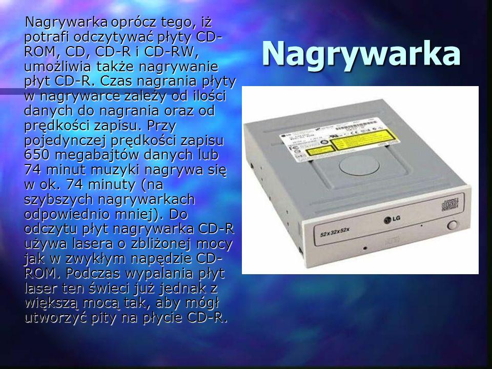 Nagrywarka Nagrywarka Nagrywarka oprócz tego, iż potrafi odczytywać płyty CD- ROM, CD, CD-R i CD-RW, umożliwia także nagrywanie płyt CD-R. Czas nagran