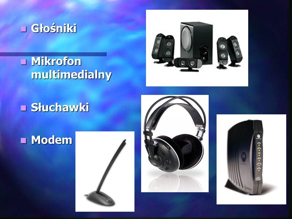 Głośniki Głośniki Mikrofon multimedialny Mikrofon multimedialny Słuchawki Słuchawki Modem Modem