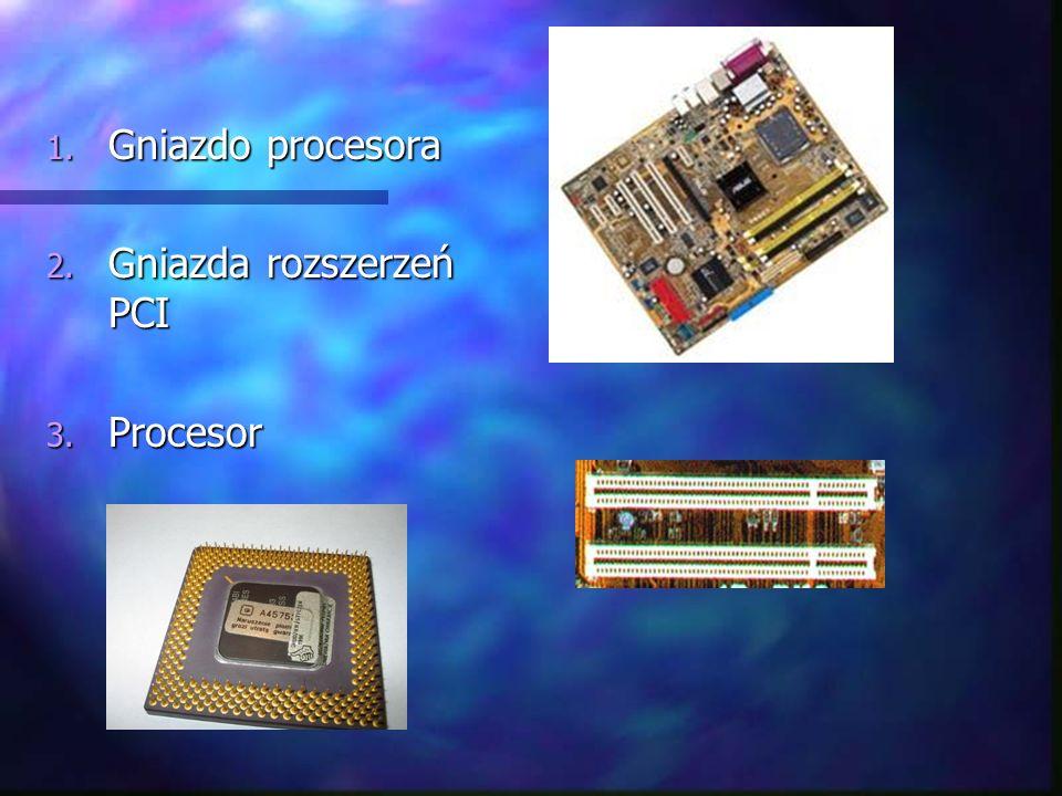 1. Gniazdo procesora 2. Gniazda rozszerzeń PCI 3. Procesor