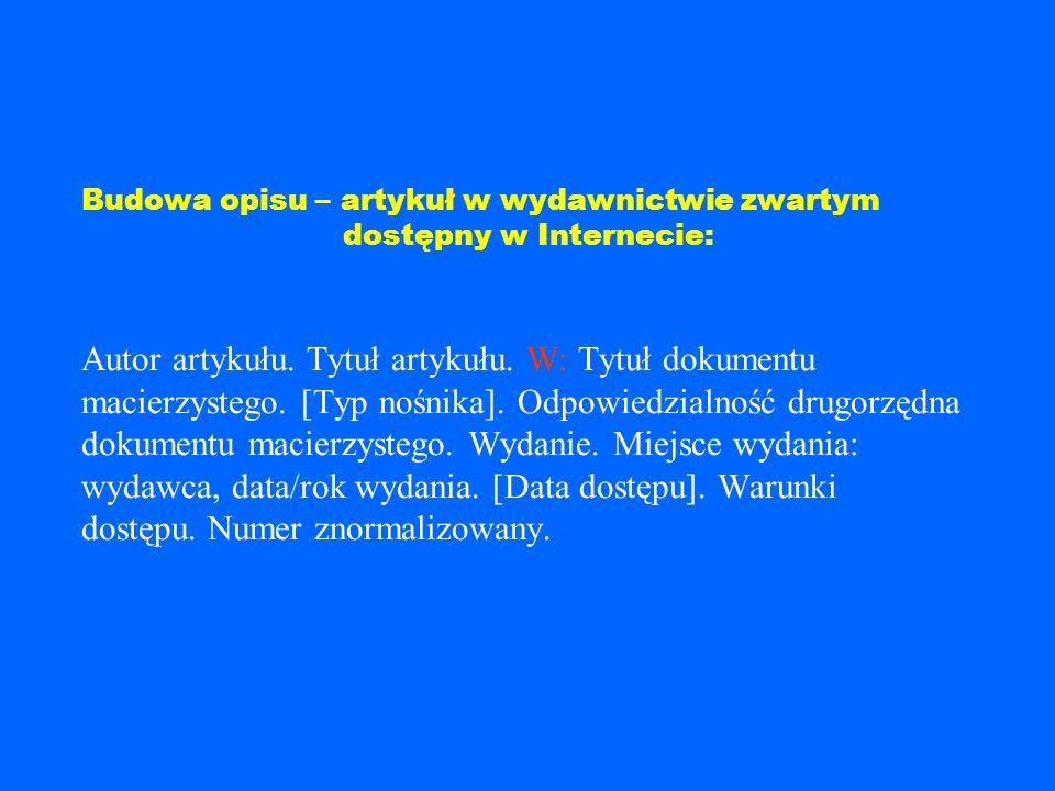 Przykład: Panteon bogów egipskich. W: Egipt. [CD-ROM]. Red. Mirosław D ąbrowski, Magdalena Olkuśnik. Kraków: Fogra Multimedia, 1999.