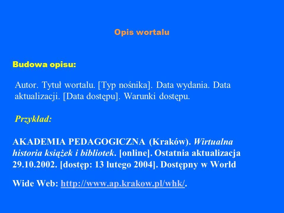Opis publikacji istniejącej samoistnie w Internecie Budowa opisu: Autor.Tytuł pracy.