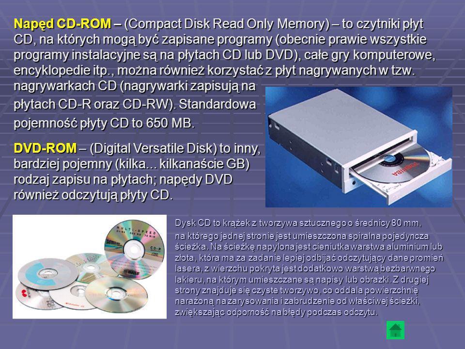 Napęd CD-ROM – (Compact Disk Read Only Memory) – to czytniki płyt CD, na których mogą być zapisane programy (obecnie prawie wszystkie programy instala