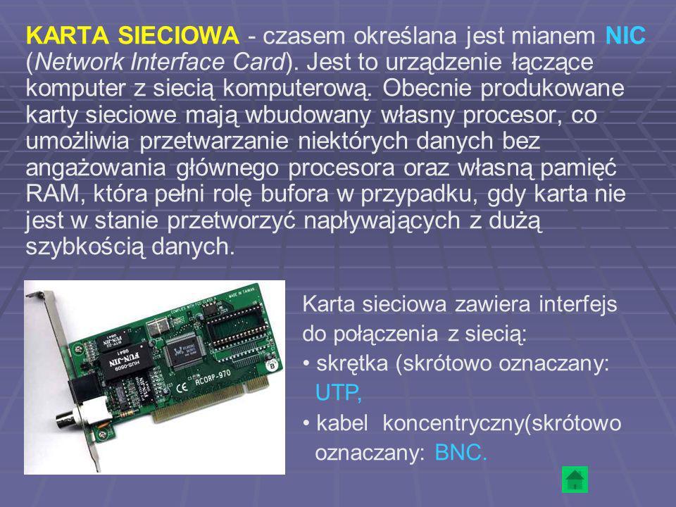 KARTA SIECIOWA - czasem określana jest mianem NIC (Network Interface Card). Jest to urządzenie łączące komputer z siecią komputerową. Obecnie produkow