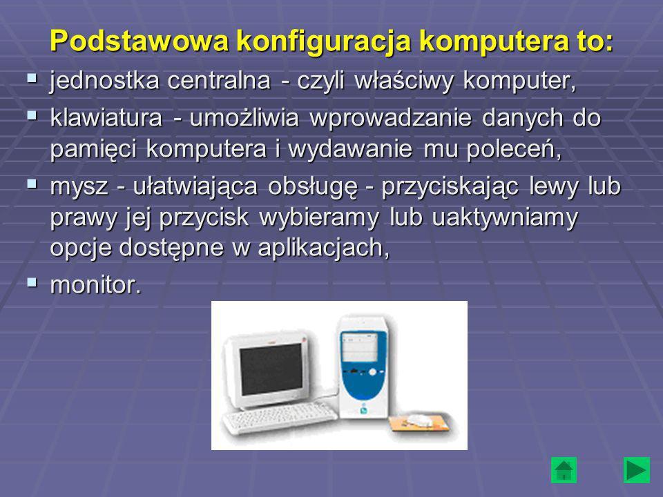 Podstawowa konfiguracja komputera to: jednostka centralna - czyli właściwy komputer, jednostka centralna - czyli właściwy komputer, klawiatura - umożl