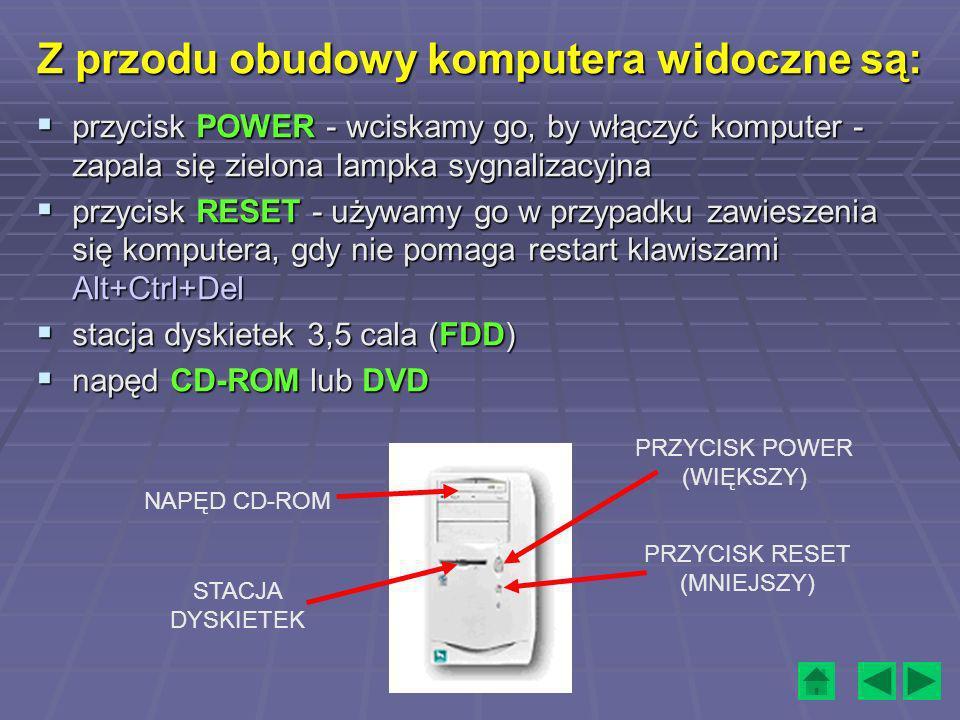 Z przodu obudowy komputera widoczne są: przycisk POWER - wciskamy go, by włączyć komputer - zapala się zielona lampka sygnalizacyjna przycisk POWER -