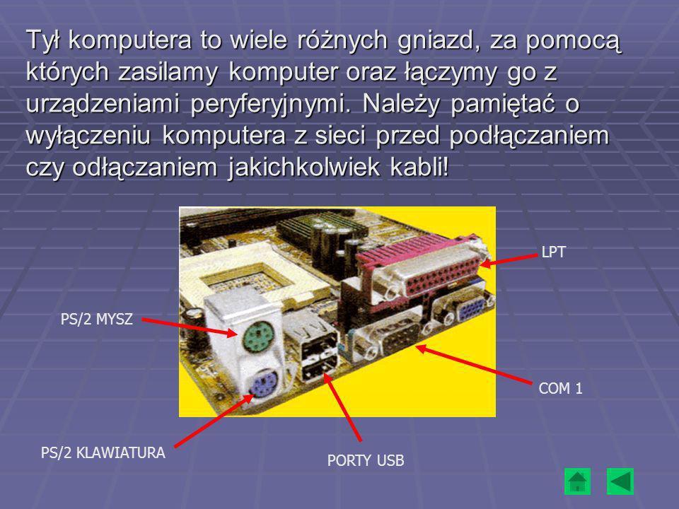 Wewnątrz obudowy jednostki centralnej znajdują się: - zasilacz, - płyta główna, płyta główna płyta główna - procesor, procesor - pamięć operacyjna – RAM, pamięć operacyjna – RAM pamięć operacyjna – RAM - pamięć zewnętrzna - dysk twardy, napęd CD-ROM (lub DVD), stacja dyskietek, pamięć zewnętrzna pamięć zewnętrzna - karty rozszerzające (graficzna, muzyczna, sieciowa, modem).