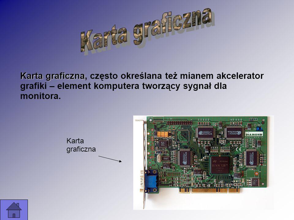 Karta graficzna Karta graficzna, często określana też mianem akcelerator grafiki – element komputera tworzący sygnał dla monitora. Karta graficzna