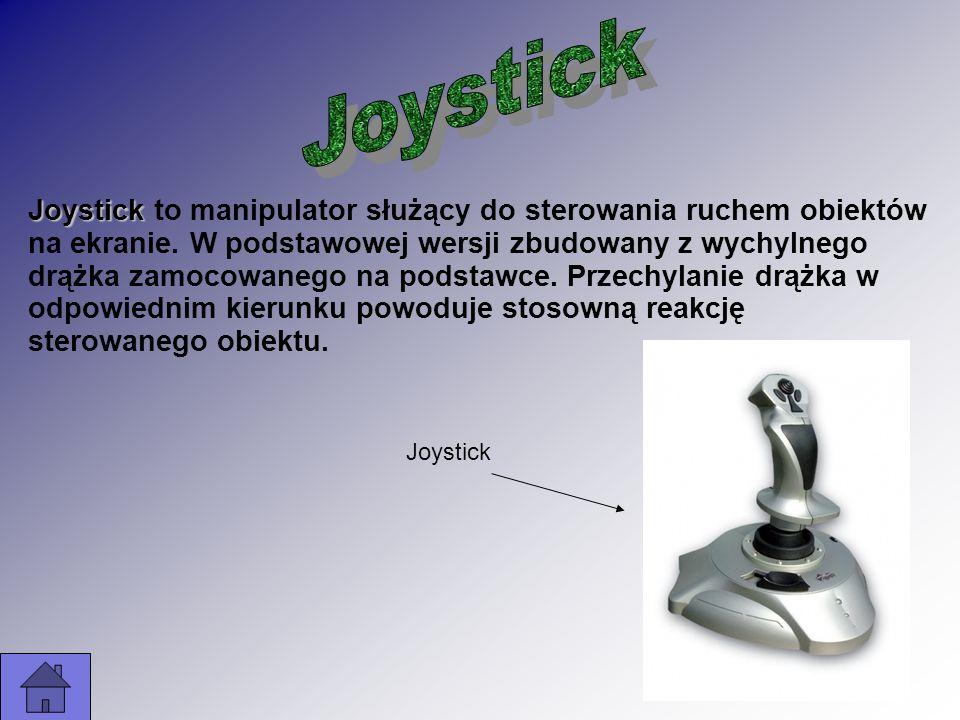Joystick to manipulator służący do sterowania ruchem obiektów na ekranie. W podstawowej wersji zbudowany z wychylnego drążka zamocowanego na podstawce