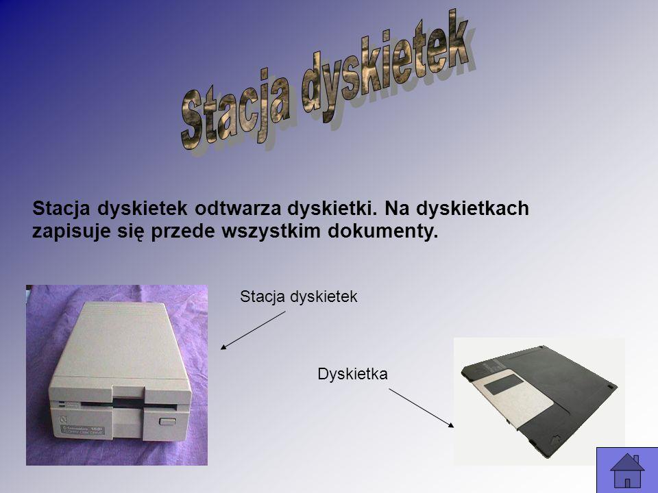 Stacja dyskietek odtwarza dyskietki. Na dyskietkach zapisuje się przede wszystkim dokumenty. Stacja dyskietek Dyskietka