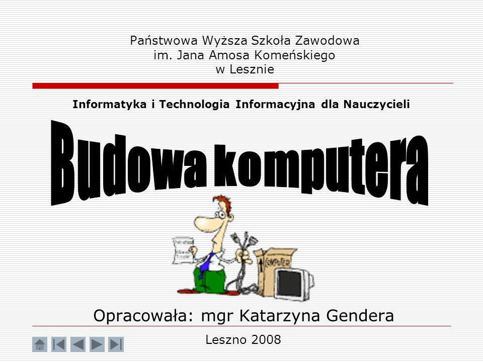 Państwowa Wyższa Szkoła Zawodowa im. Jana Amosa Komeńskiego w Lesznie Opracowała: mgr Katarzyna Gendera Informatyka i Technologia Informacyjna dla Nau