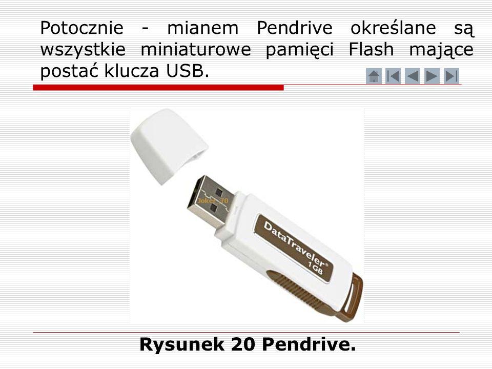 Rysunek 20 Pendrive. Potocznie - mianem Pendrive określane są wszystkie miniaturowe pamięci Flash mające postać klucza USB.