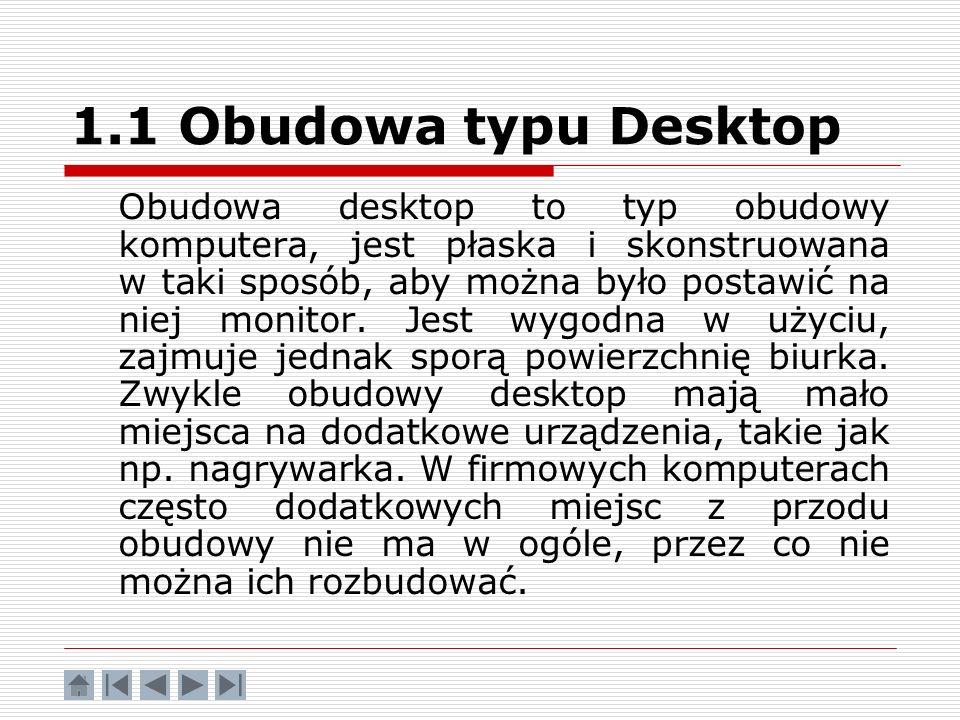 1.1 Obudowa typu Desktop Obudowa desktop to typ obudowy komputera, jest płaska i skonstruowana w taki sposób, aby można było postawić na niej monitor.