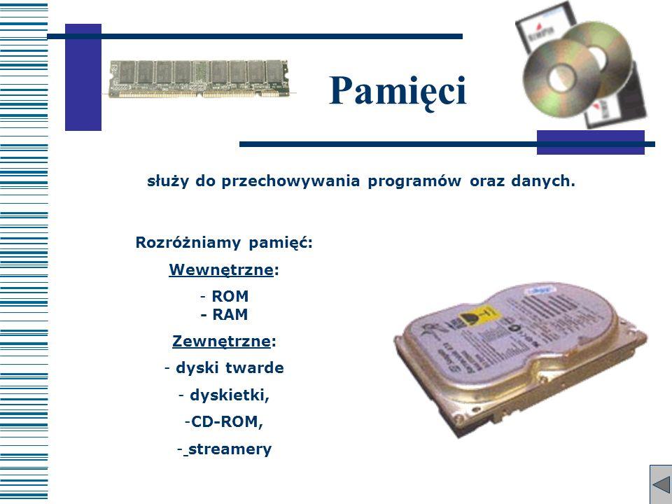 Rozróżniamy pamięć: WewnętrzneWewnętrzne: - ROM - RAM ZewnętrzneZewnętrzne: - dyski twarde - dyskietki, -CD-ROM, - streamery Pamięci służy do przechow