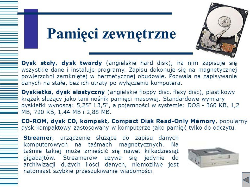 Pamięci zewnętrzne Dysk stały, dysk twardy (angielskie hard disk), na nim zapisuje się wszystkie dane i instaluje programy. Zapisu dokonuje się na mag