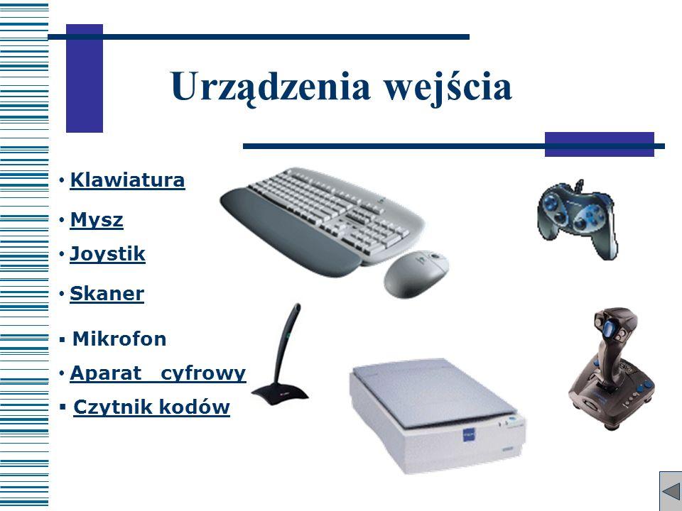 Skaner Urządzenia wejścia Klawiatura Mysz Joystik Mikrofon Aparat cyfrowy Czytnik kodów