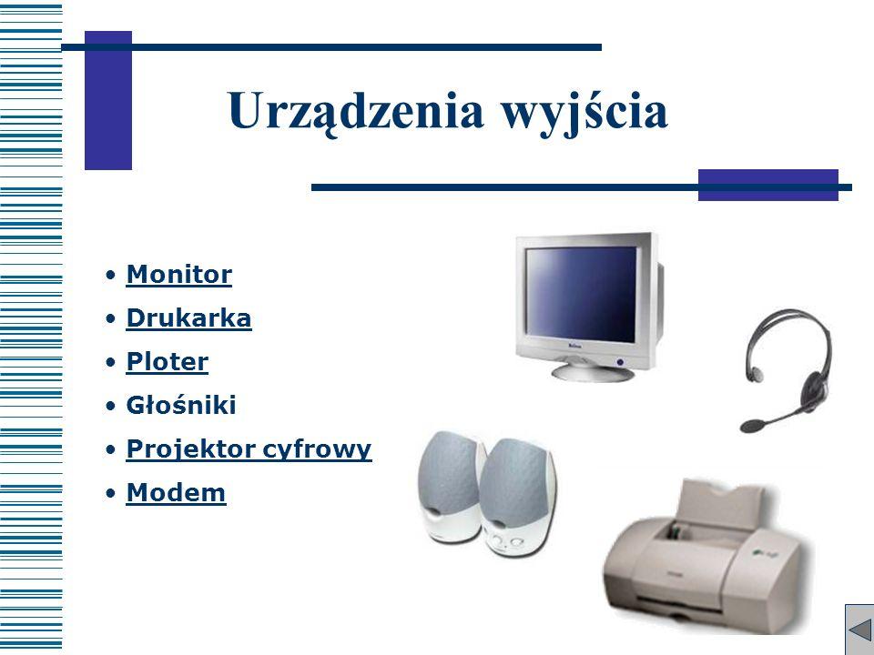 Monitor Drukarka Ploter Głośniki Projektor cyfrowy Modem Urządzenia wyjścia