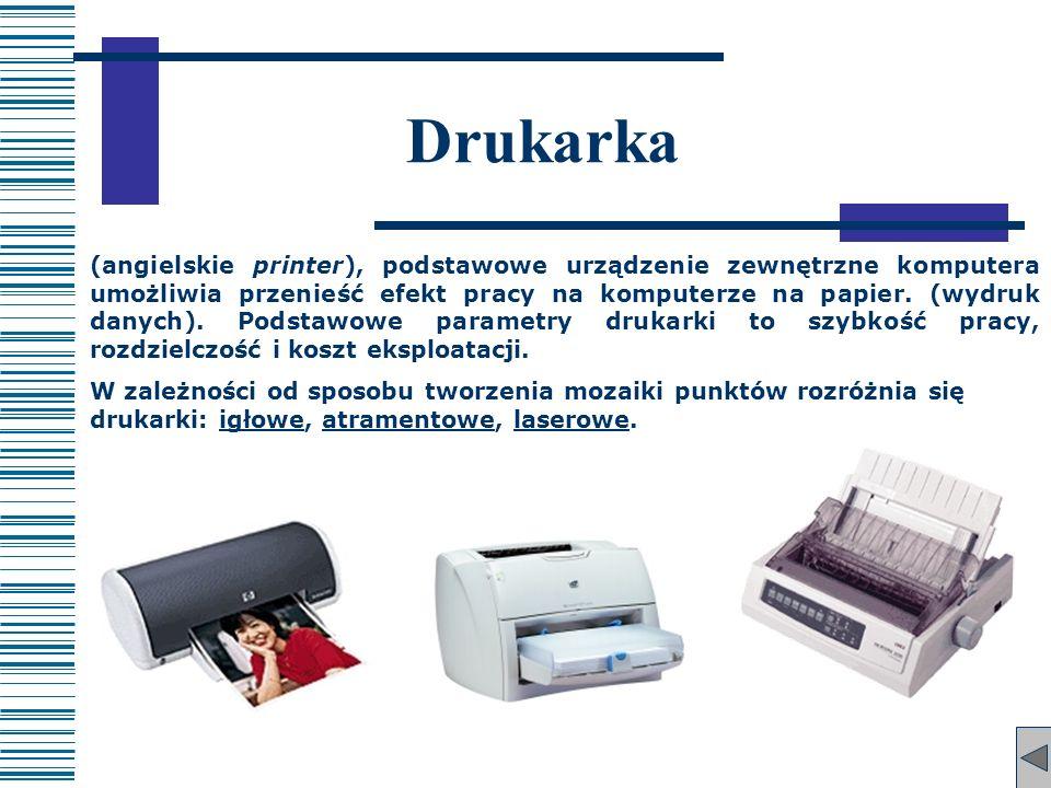 Drukarka (angielskie printer), podstawowe urządzenie zewnętrzne komputera umożliwia przenieść efekt pracy na komputerze na papier. (wydruk danych). Po