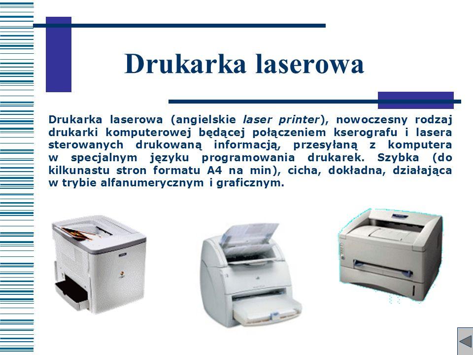 Drukarka laserowa Drukarka laserowa (angielskie laser printer), nowoczesny rodzaj drukarki komputerowej będącej połączeniem kserografu i lasera sterow